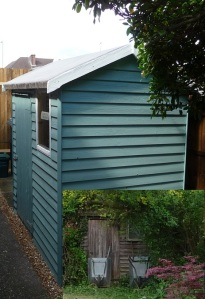 Renovated and painted shed with inset picture showing before