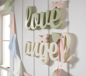 Love and angel cutout words