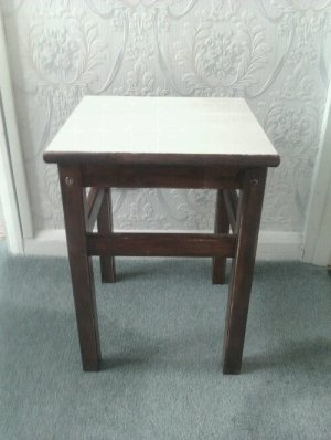 Before makeover of bedside table
